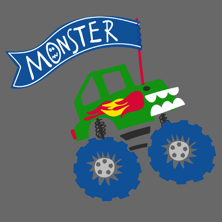 off road vehicle: Cute off road vehicle, monster truck with a typography