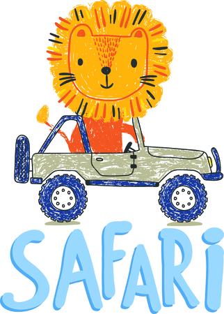 jeep: cute lion on the jeep safari vector