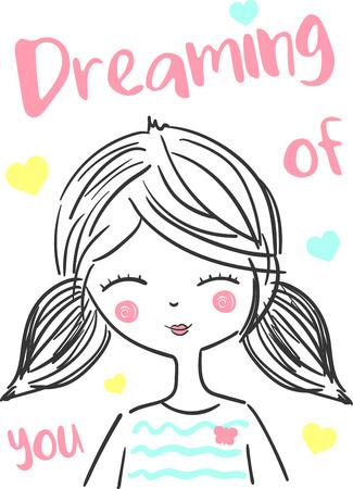 cute girl: cute girl vector illustration