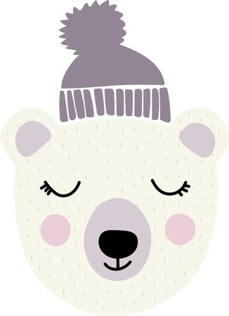 hapy: cute polar bear head vector cartoon