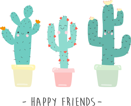 hapy: cute cartoon cactus vector