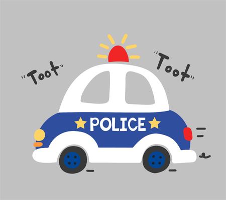 hapy: cute police car vector Illustration