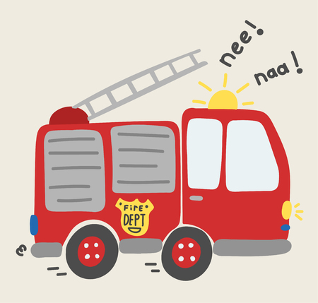 cute cartoon toy fire truck vector