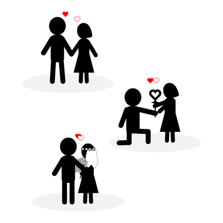 Simple icons of happy couple moments in black and white with red heart shape. Symbols of dating; Will you marry me?; and wedding ceremony. Concepts of love, happy Valentines day, relationship. Isolated on white background. Flat design. Vector illustration.