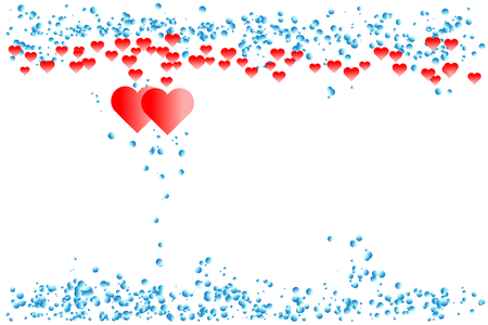 Red hearts with border of blue gradient dots. Happy Valentine's day and love concepts. Use as greeting card, background, montage. Illustration