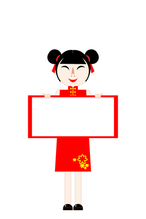 Chinese new year card. Girl in red stand and hold blank board (white space). Use as greeting card or for marketing purpose by adding text related to sales and advertising campaign. Vector illustration.