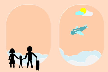 Travelers (family) with luggage waiting for airplane landing, by looking through abstract windows shapes similar to cabin windows in aircraft. Creative vector illustration. Top-left copy space.