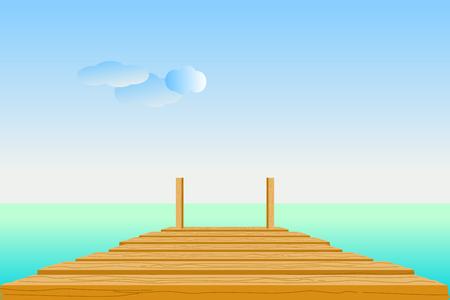 Muelle de madera en mar turquesa con cielo, nubes y la línea del horizonte. Ilustración de vector de diseño plano.