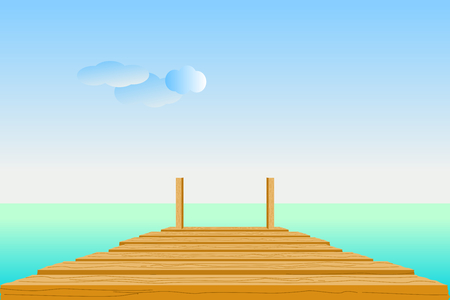 Wooden pier in turquoise sea with sky, clouds, and the horizon line. Vector illustration in flat design. Çizim