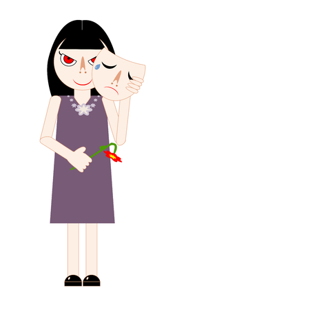 Woman holding a withered flower, pretending to cry, and hiding her tricky face behind a sad emotional mask. Vector illustration. Insincere lady taking off the mask and reveal her real feeling face. Concepts of hypocrisy, fake, craftiness, liar, pretender, etc.