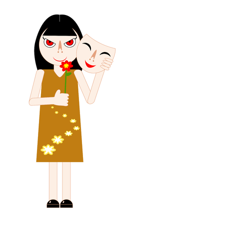 Woman hiding her real feeling behind a mask and holding red flower. Vector illustration. Insincere lady taking off smiling mask and reveal her tricky face. Concepts of hypocrisy, fake, craftiness, liar, social expression, pretender, etc. Vettoriali