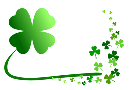 Pattern of green shamrocks, four leaf clover vector illustration. Use as background, greeting card, or element for graphic design in concepts of holiday celebration, lucky, happiness, love, outstandin