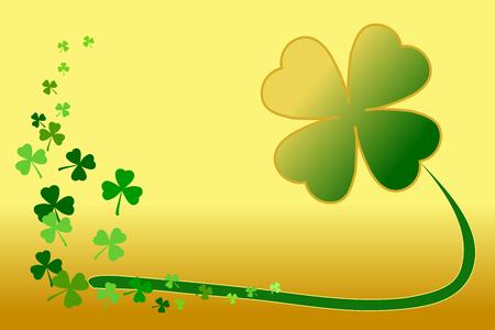 Saint Patrick's day green shamrock clover on gold gradient background. Illustration