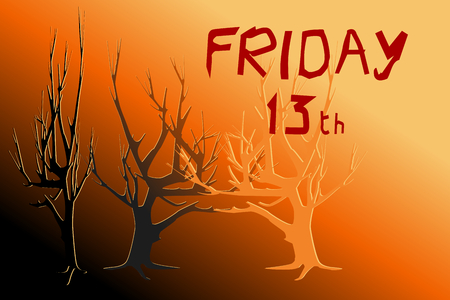 Dead trees in yellow and red light - Concepts of Halloween, Friday the 13th, mystery. Black and orange area on the bottom is for adding extra text (copy space). Vector illustration, EPS10.