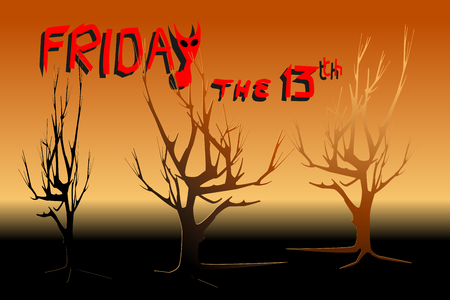 Dead trees in yellow and red light - Concepts of Halloween, Friday the 13th, mystery. Vector illustration.