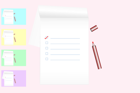 To do list on notebook with red marker pen on pink colored background (color samples - blue, yellow, green, violet); flat lay style; top view; copy space. Task planning concepts. Vector illustration. Illustration