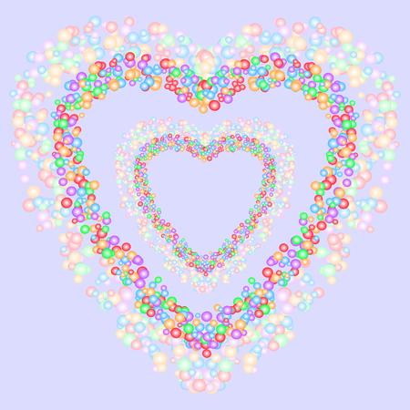 Patrón de forma de corazón formado por burbujas de colores sobre fondo gris azulado. Ilustración vectorial Útil como fondo, telón de fondo o montaje de imágenes. Amor, romance, día de San Valentín y conceptos de boda. Ilustración de vector