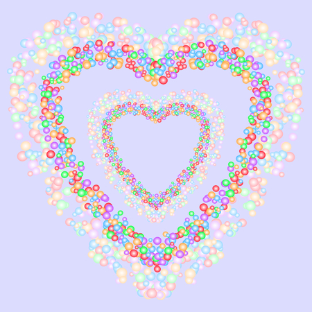 Heart shape pattern formed by colorful bubbles on bluish gray background. Vector illustration. Useful as background, backdrop, or image montage. Love, romance, valentines day, and wedding concepts.