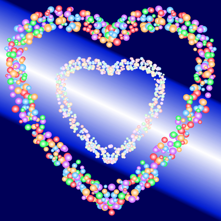 Two heart shape patterns of colorful bubbles on gradient blue and light beam background. Vector illustration. The image is useful as greeting  invitation card, backdrop, or montage in graphic design. Love, romance, valentine, or wedding concepts.
