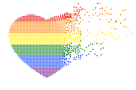 Rainbow heart shape of flying colorful dots on white (transparent) background. Colors of LGBT pride flag, symbol of lesbian, gay, bisexual, transgender, and questioning (LGBTQ). Vector illustration. Illustration