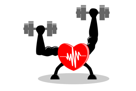 Exercise make heart healthy and stronger concept. Red heart with white pulse inside, building muscle and strength by lifting dumbbells in both hands , isolated background. Vector illustration, EPS10.