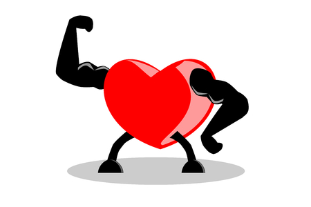 Healthy red heart showing muscles and strength, isolated on white background. Ilustrace