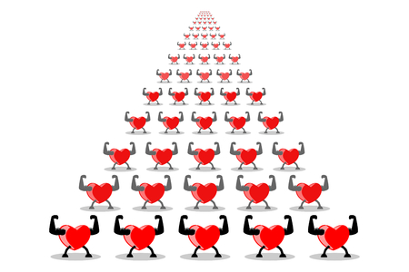 Healthy red heart team members exercising and showing muscles and strengths, isolated on white (transparent) background. Vector illustration, EPS10. Exercise make heart healthy and stronger concept. Banco de Imagens - 101044024