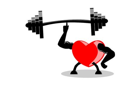 Healthy red heart showing muscles and strength by lifting heavy barbell with one finger, isolated on white (transparent) background. Vector illustration. The image can be used as icon, visual content, etc. Exercise make heart healthy and stronger concept.
