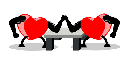 Battle between two opponent hearts, fighting by using arm wrestling match, vector illustration, EPS10. Concepts of strong heart, fighting for love, etc. The image is isolated on white (transparent) background.