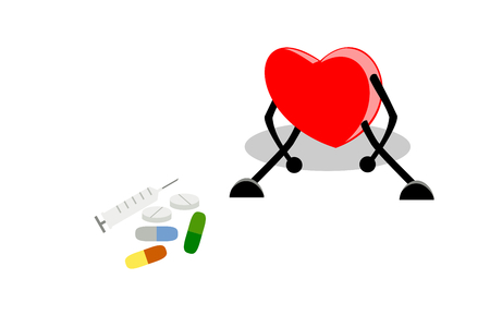 Weak, tired, and exhausted heart sitting with medication (syringe, medicine tablets, capsule pills, isolated on white background. Heart disease, disappointed / broken heart concepts. Vector illustration
