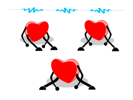 Sets of tired, and exhausted hearts sitting with blue weak signal above, isolated on white (transparent) background. Heart disease, disappointed  broken heart concepts. Vector illustration