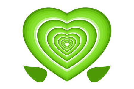 Green multi-layered hearts and leaves, isolated on white (transparent) background. Vector illustration, Use as icon, greeting card, or backdrop in love, valentine, environment friendly concepts Illustration