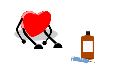 Weak, tired, and exhausted heart sitting with medication (syringe and liquid drug), isolated on white background. Heart disease, disappointed / broken heart concepts. Vector illustration