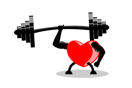 Healthy red heart showing muscles and strength by lifting heavy barbell with one hand. Vector illustration, EPS10. Use as icon, visual content, etc. in exercise make heart stronger concept.