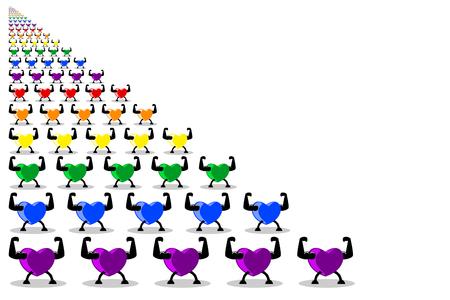 Coeurs sains colorés marchant et défilant en rangées, couleurs arc-en-ciel isolés sur fond blanc (transparent). Les concepts de parade, de cœur ou d'exercice rendent le cœur sain et plus fort. Illustration vectorielle, Eps10. Vecteurs