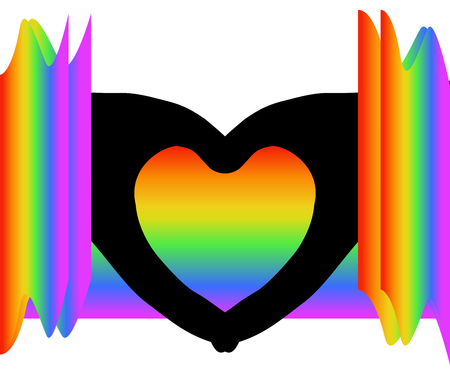 Black heart shape (silhouette hands) among colorful rainbow colors on white (transparent) background. Vector illustration, EPS 10. Concept of sadness, coldness (lack of compassion, feeling or love), heartbroken, valentines, etc. Vettoriali