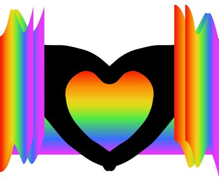 Black heart shape (silhouette hands) among colorful rainbow colors on white (transparent) background. Vector illustration, EPS 10. Concept of sadness, coldness (lack of compassion, feeling or love), heartbroken, valentines, etc. Ilustração