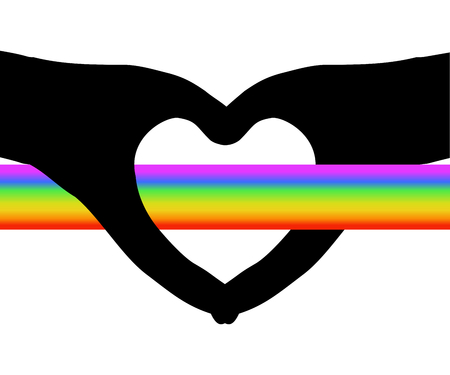 Beautiful rainbow band flying through hollow heart shape (silhouette hands), white (transparent) background. Vector illustration, EPS10. Concepts of struggle for love, valentine, happiness (rainbow) and sadness (black heart), etc. Illustration