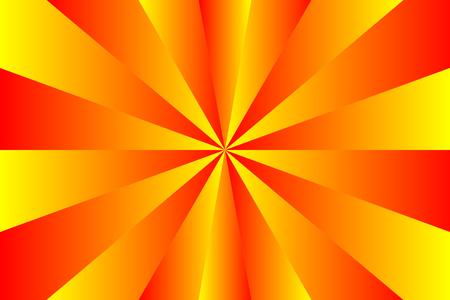 Modello astratto dello sprazzo di sole, colori del raggio rosso, arancione e giallo sfumati. Illustrazione vettoriale, Eps10. Motivo geometrico. Usa come sfondo, sfondo, montaggio di immagini, modello di mock up, ecc.