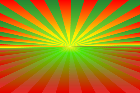 Christmas theme background. Abstract sunburst pattern of gradient green, red, orange and yellow rays; bottom copy-space for add text. Vector illustration. Use as background, montage, mock-up template Ilustração