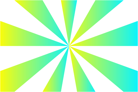 Abstract sunburst pattern, gradient blue, green, and yellow ray colors on white background. Vector illustration, EPS10. Geometric pattern. Use as background, backdrop, montage, mock up template, etc.