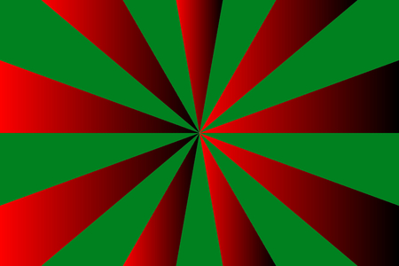Abstract sunburst pattern, red rays on gradient green background, Merry Christmas theme. Vector illustration, EPS10. Geometric pattern. Use as background, backdrop, image montage, mockup template, etc