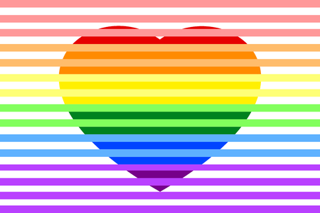 Colorful rainbow striped heart on white (transparent) background, Vector illustration, EPS10. Concepts of love, wedding, valentines.