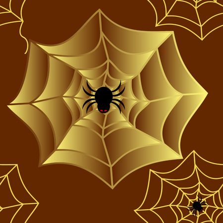 Seamless pattern of black spider with red eyes and yellow gold spider web on brown background. Vector illustration, EPS10, square shape. Use as background, wallpaper or print as wrapping paper, fabric