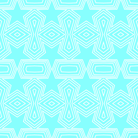 Seamless geometric pattern of soft blue stars and polygon shapes with white lines. Flat design vector illustration, EPS10. Use as background, wallpaper, gift wrap paper, tile and fabric print. Illustration