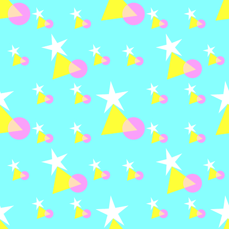Seamless pattern of colorful stars, triangle, and circle shapes, pastel colors - white, yellow, pink, on soft blue background. Flat design vector illustration, EPS10, for wallpaper, gift wrap paper.
