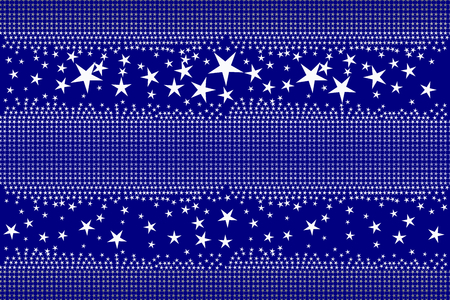 Seamless pattern of white and shading blue stars on dark blue colored background, center copy-space for text. Flat design vector illustration, EPS10, for wallpaper, gift wrap paper, tile print, etc.