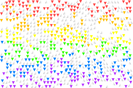 Rainbow striped shape of flying colorful triangles on white (transparent) background, vector illustration, EPS10.There are six main colors - red, orange, yellow, green, blue (indigo), and violet (purple or magenta). Illustration