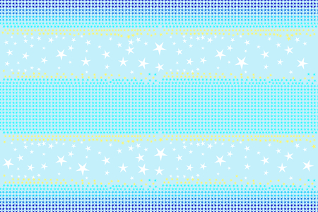 Seamless pattern of stars shapes in blue, white, yellow colors on light sky blue background, pastel color. Flat design vector illustration, EPS10, for wallpaper, gift wrap paper, tile print, etc.  イラスト・ベクター素材