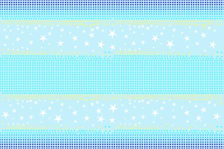 Seamless pattern of stars shapes in blue, white, yellow colors on light sky blue background, pastel color. Flat design vector illustration, EPS10, for wallpaper, gift wrap paper, tile print, etc. Illustration
